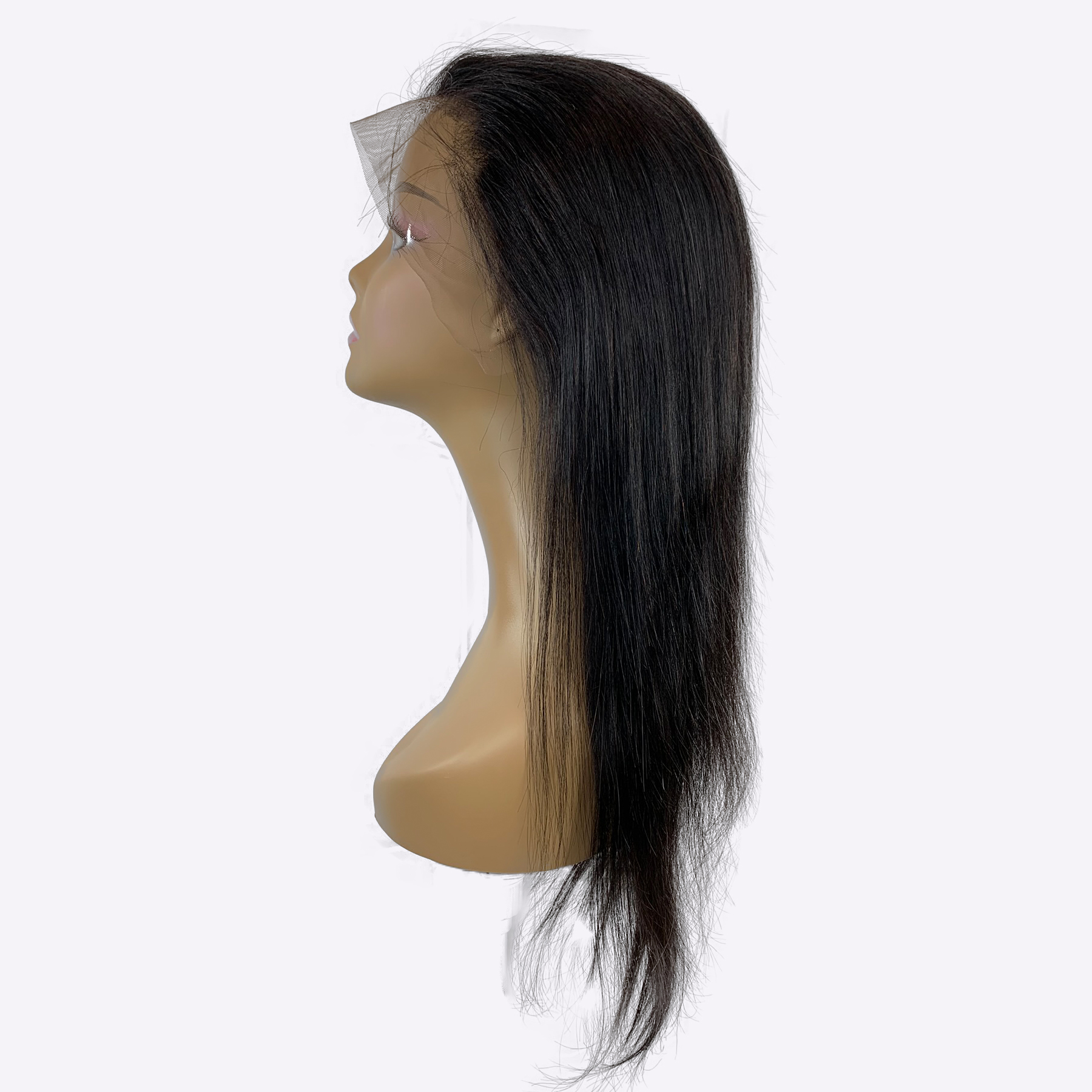 straight lace front natural colored wig